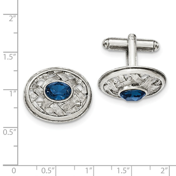 Silver-tone Blue Crystal Textured Oval Cuff Links
