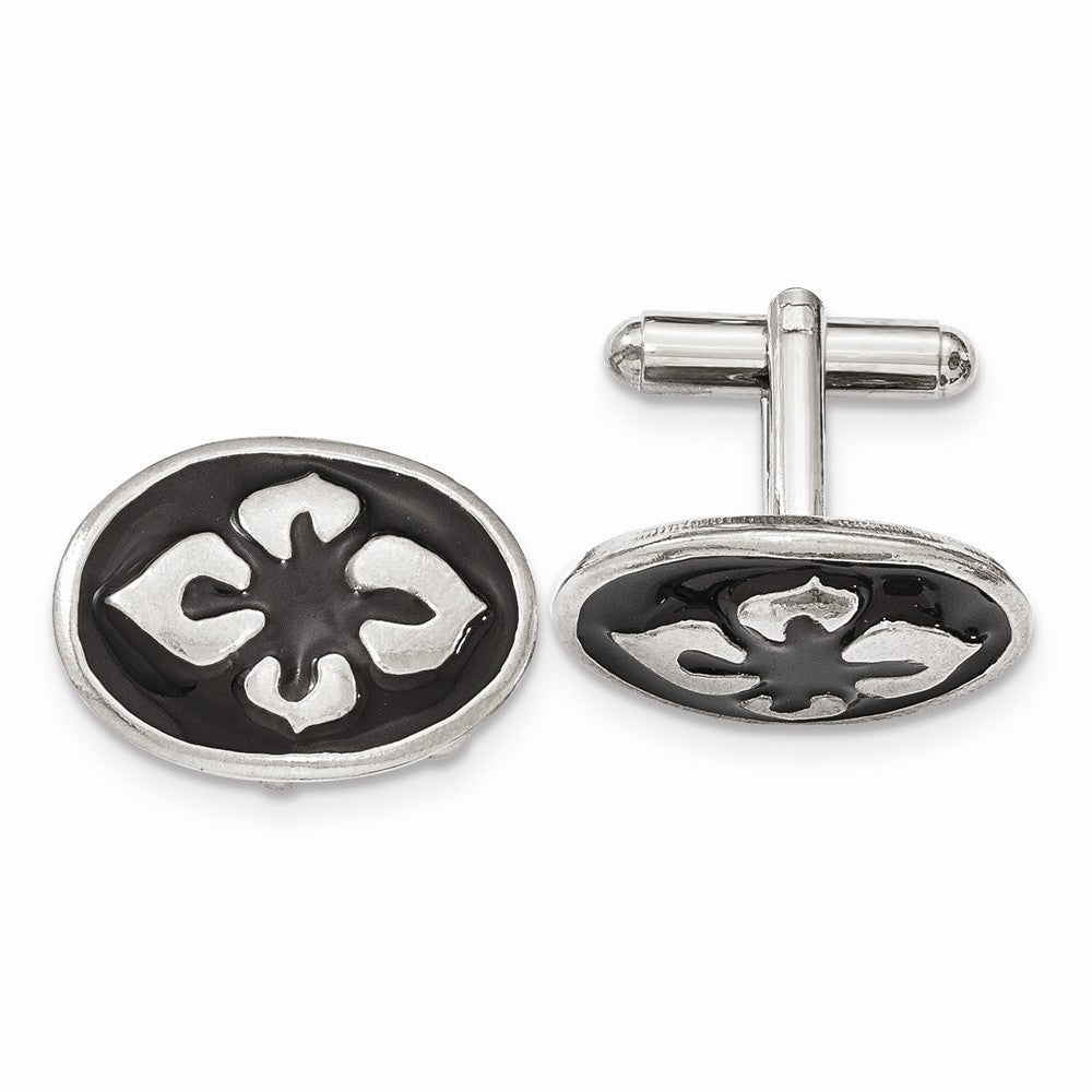 Silver-tone Polished Black Enameled Oval Cuff Links