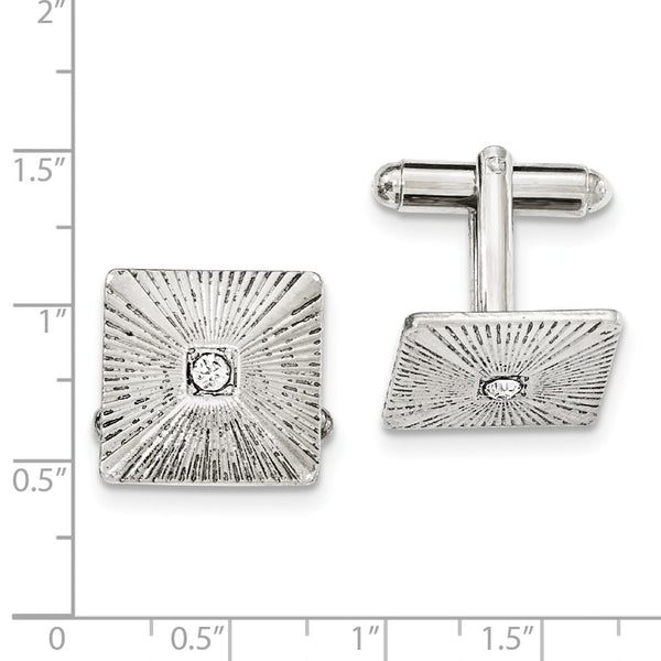 Silver-tone White Crystal Textured Square Cuff Links