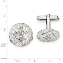Load image into Gallery viewer, Silver-tone Fleur de Lis Textured Round Cuff Links