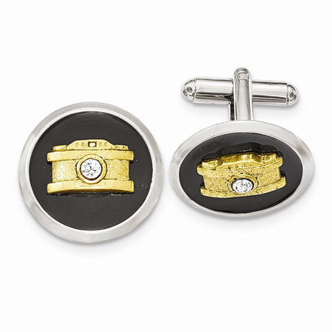 Silver and Gold-tone White Crystal Black Enamel Camera Cuff Links