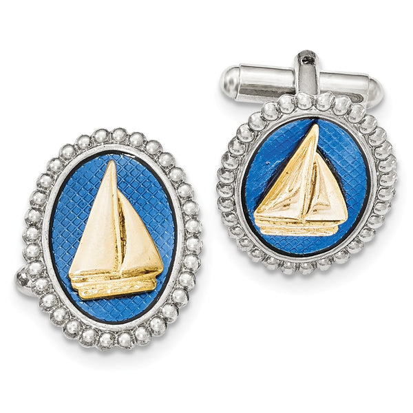 Silver and Gold-tone Blue Enamel Sailboat Cuff Links