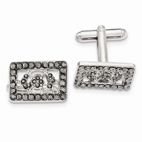 Silver-tone Black Crystal Rectangle Cuff Links