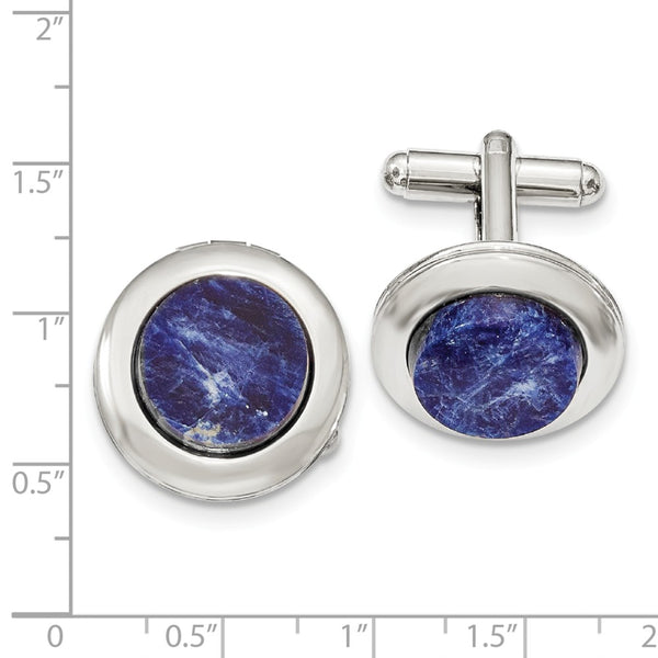 Silver-tone Sodalite Locket Cuff Links