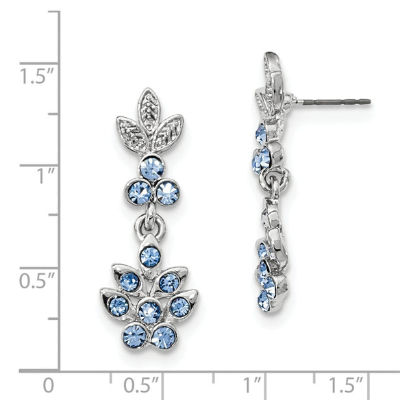 Silver-tone Blue Crystal Dangle Post Earrings