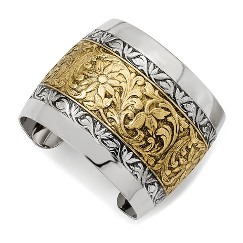 Gold-tone and Silver-tone Floral Cuff Bangle