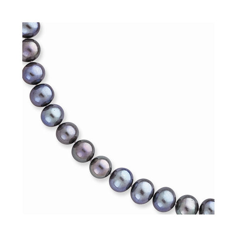 14K 7.5-8mm Black FW Onion Cultured Pearl Necklace