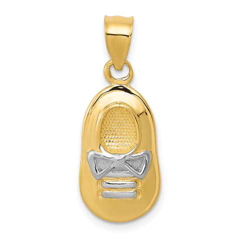 14K & Rhodium Baby Boy's Shoe Pendant