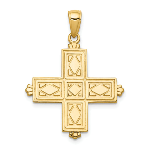 14K Etched Square Cross w/Crown Tips Pendant