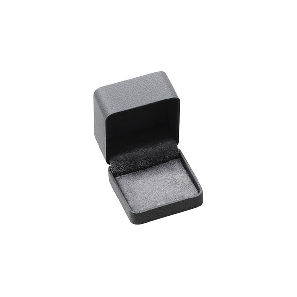 Stainless Steel Polished Textured Rose IP Plated Black Cubic Zirconia Cuff Links