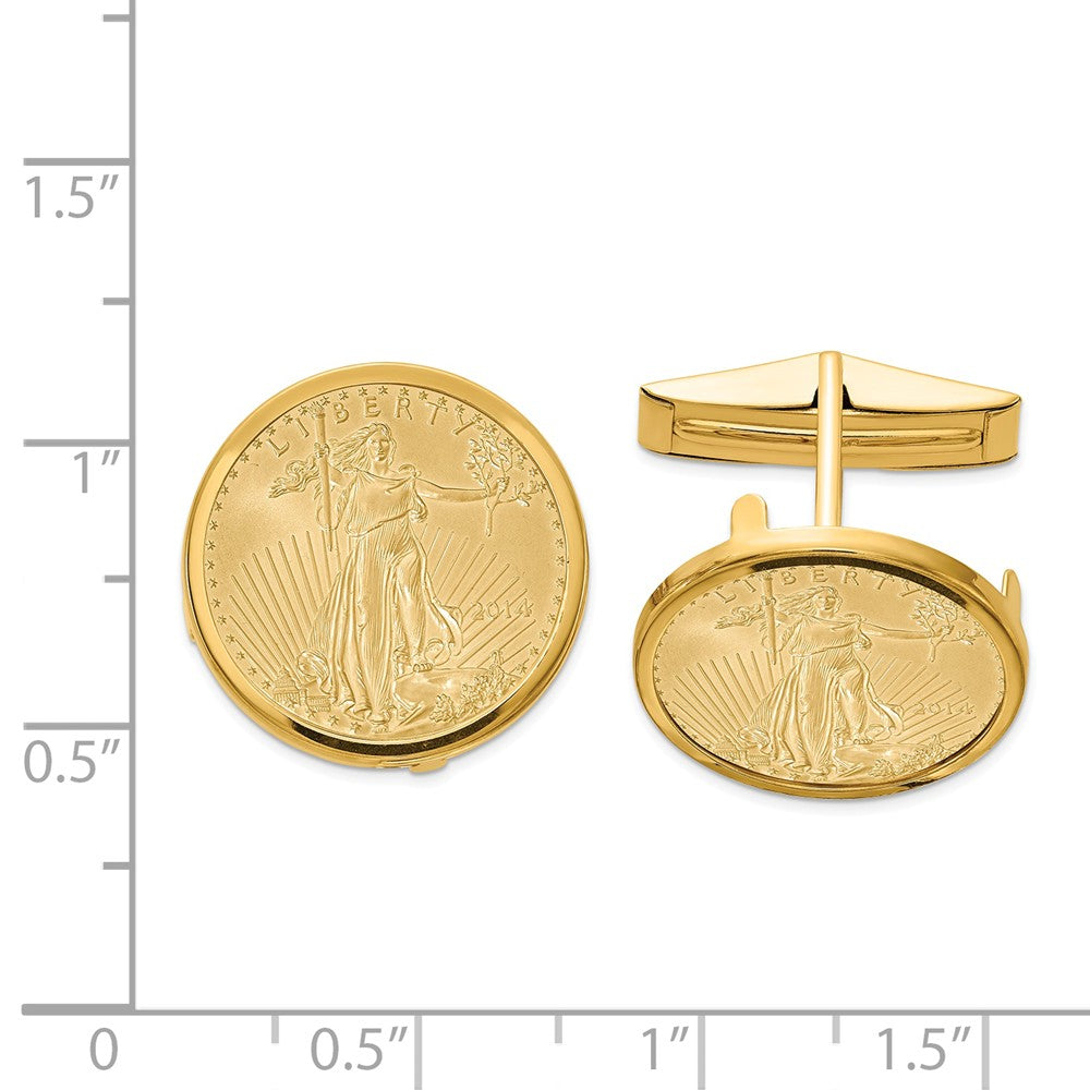 14K  1/10oz Mounted American Eagle Polished Plain Bezel Cuff Links