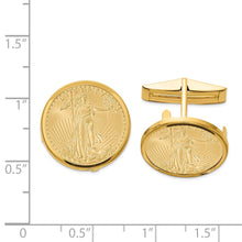 Load image into Gallery viewer, 14K  1/10oz Mounted American Eagle Polished Plain Bezel Cuff Links