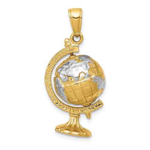 14K & Rhodium 3-D Moveable Globe Pendant