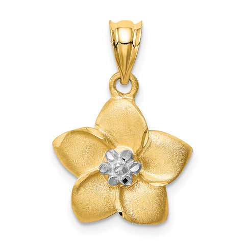 14K & Rhodium Satin Polished Diamond-cut Floral Pendant