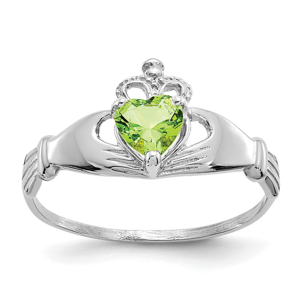 14K White Gold CZ August Birthstone Claddagh Heart Ring