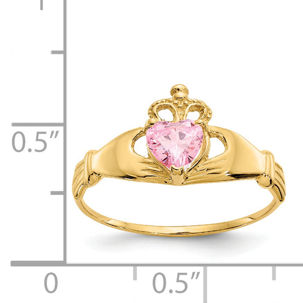 14K CZ October Birthstone Claddagh Heart Ring