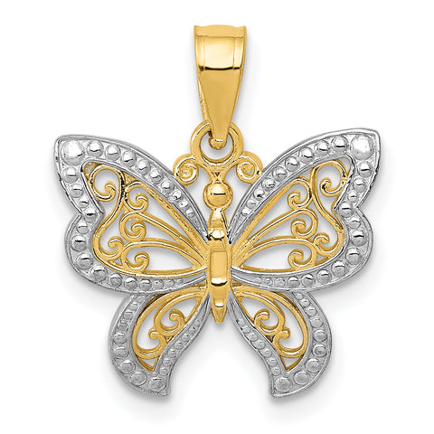 14K & Rhodium Buttterfly Charm