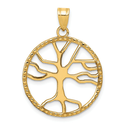 14K Tree of Life in Round Frame Pendant