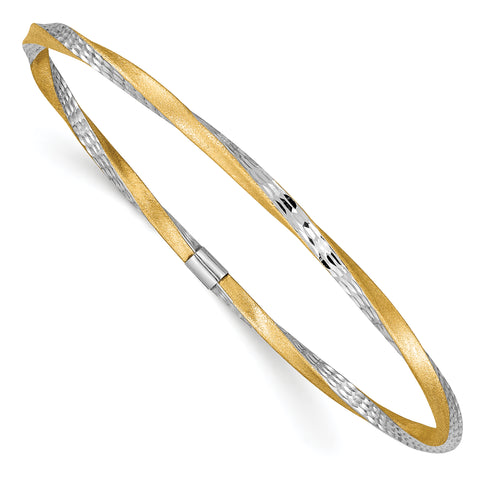 14K & Rhodium 3mm Satin Diamond-cut Twist Slip-on Bangle