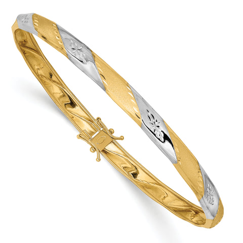 14K & Rhodium Polished Satin Diamond Cut Flexible Bangle