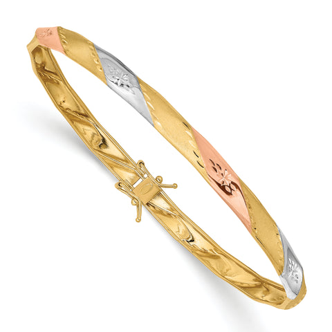 14K Yellow Gold White & Rose Rhodium Polished Satin Diamond Cut Flex Bangle