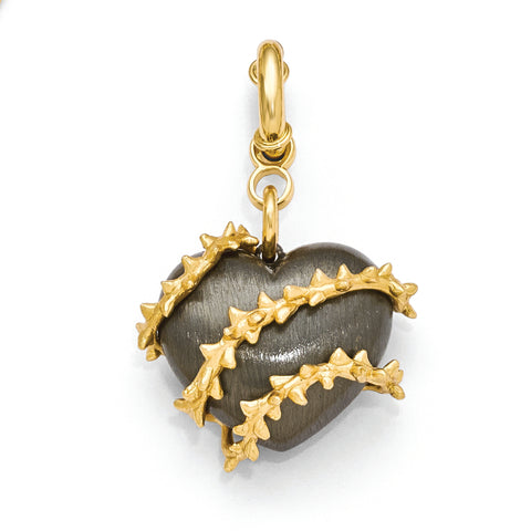 Bronze Diego Massimo Black Rhodium Gold-tone Heart Thorn Charm