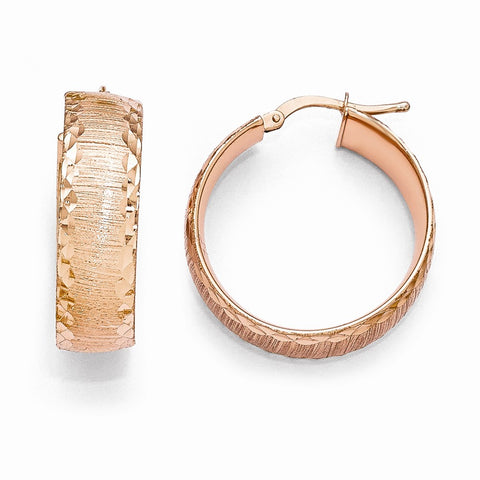 Bronze Diego Massimo Brushed Rose-tone Hoop Earring