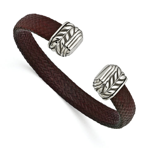 Edward Mirell 10mm Stainless Steel WithCarbon Fiber Cuff Bracelet