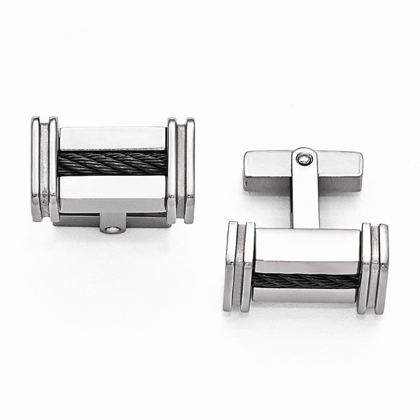 Edward Mirell Titanium Cable Polished Cuff Links