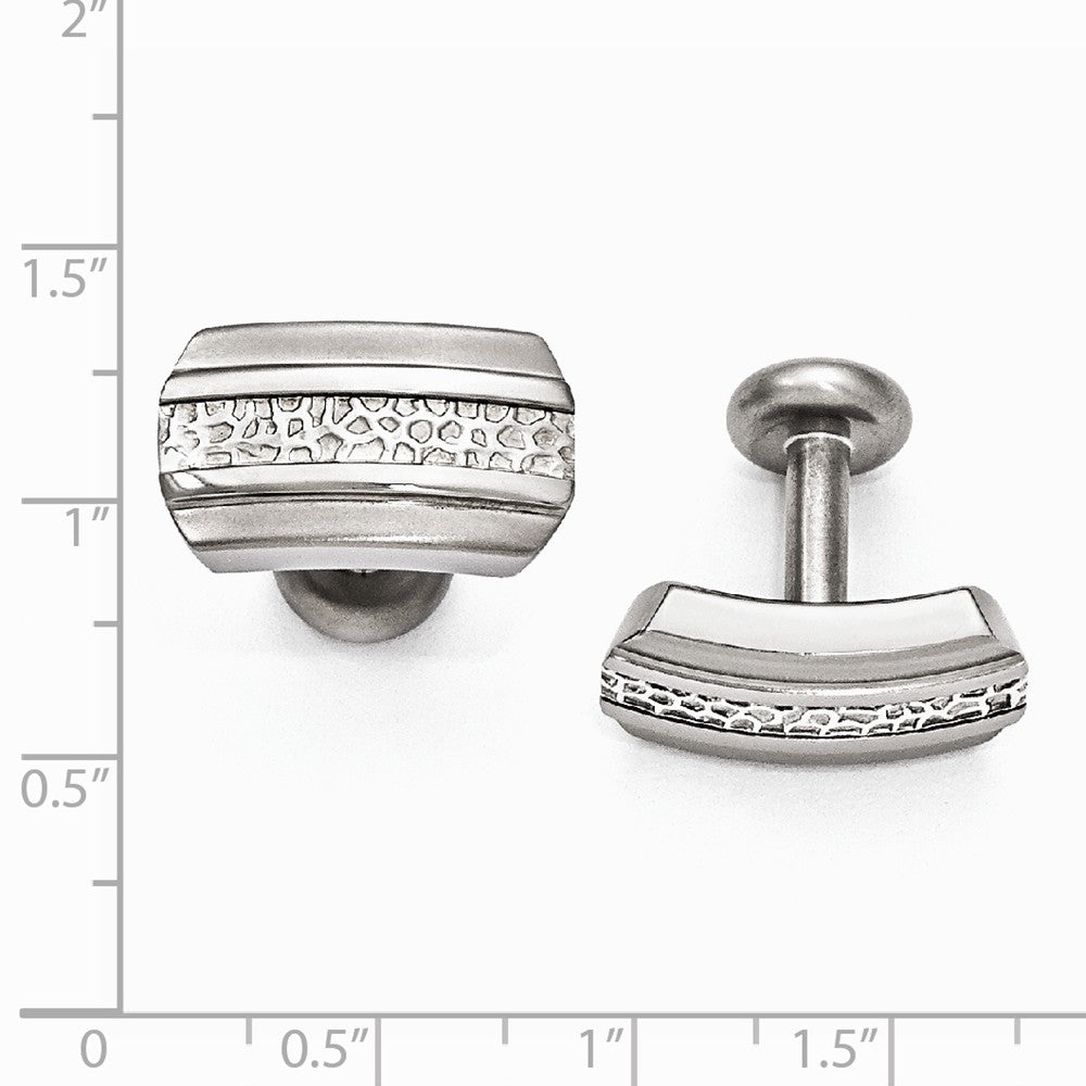 Edward Mirell Titanium & Sterling Silver Brushed& Polished Cuff Links