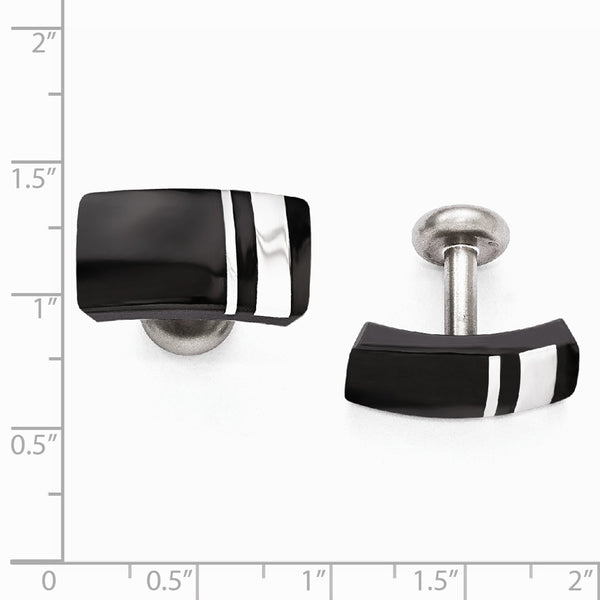 Edward Mirell Black Ti & Sterling Silver Cuff Links