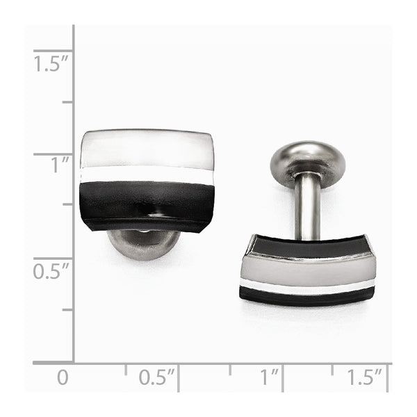 Edward Mirell Black Ti & Sterling Silver Brushed & Polished Cuff Links