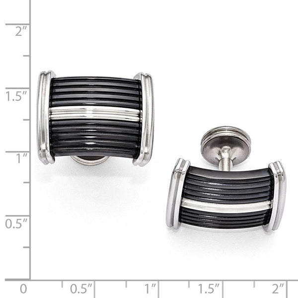 Edward Mirell Black Ti & Stainless Steel Polished Cuff Links