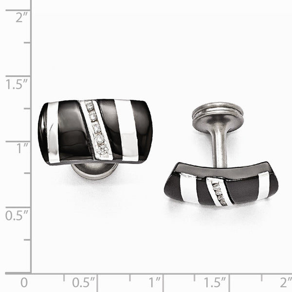 Edward Mirell Black Ti & Sterling Silver .19 ctw Diamond Cuff Links