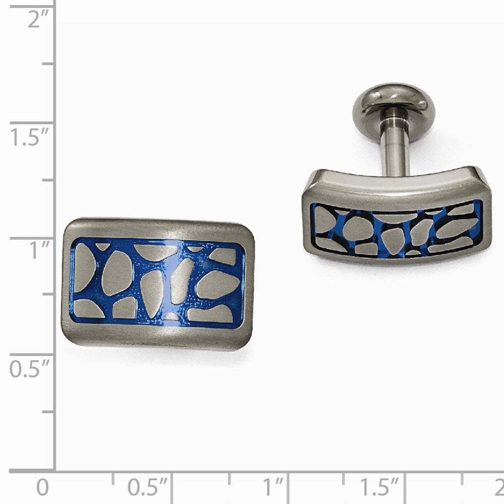 Edward Mirell Titanium Blue Anodized Brushed Cufflinks