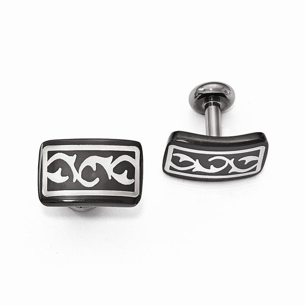 Edward Mirell Black Ti & Sterling Silver Polished Thorn Cuff Links