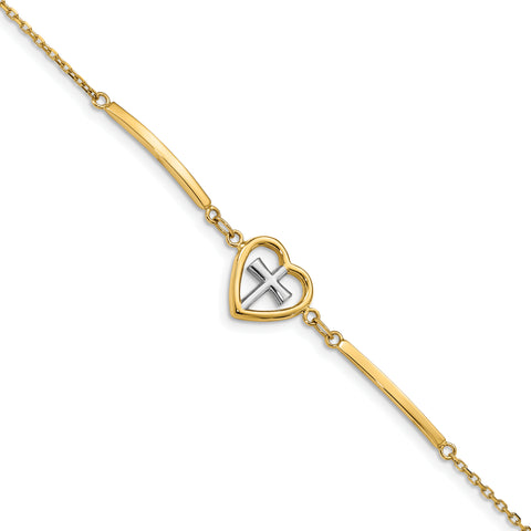 14K & White Rhodium-plated Polished Heart & Cross With.75in ext. Bracelet
