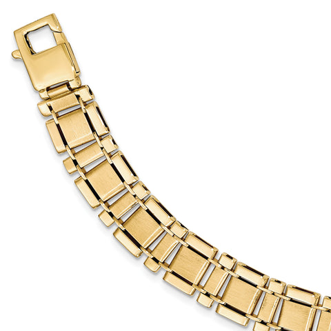 14K Brushed & Polished Link 8.5in Bracelet