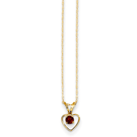 14K Yellow Gold Madi K 3mm Garnet Heart Birthstone Necklace
