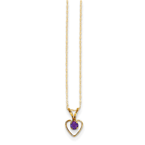 14K Yellow Gold Madi K 3mm Amethyst Heart Birthstone Necklace