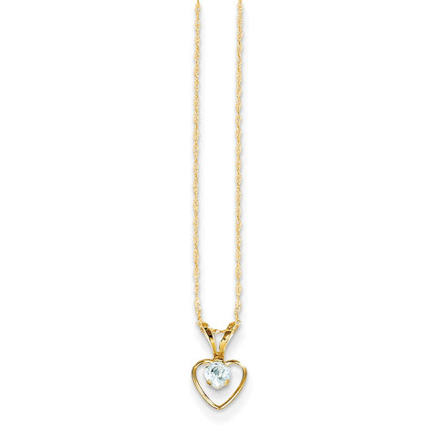 14K Yellow Gold Madi K 3mm Aquamarine Heart Birthstone Necklace