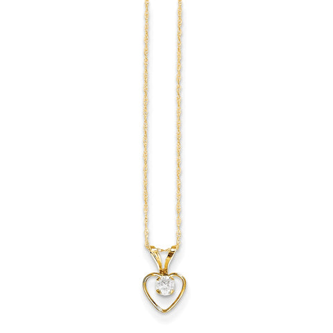 14K Yellow Gold Madi K 3mm White Zircon Heart Birthstone Necklace