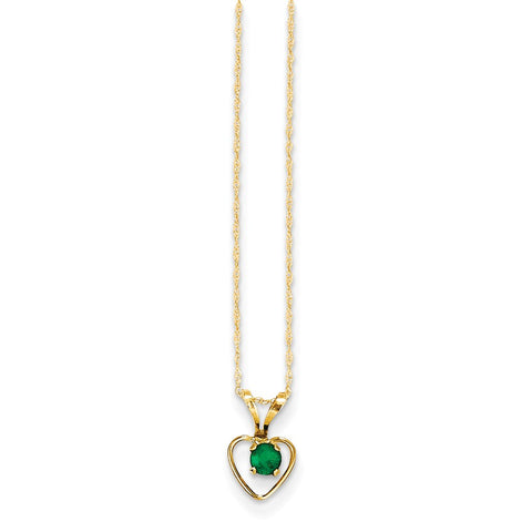 14K Yellow Gold Madi K 3mm Emerald Heart Birthstone Necklace