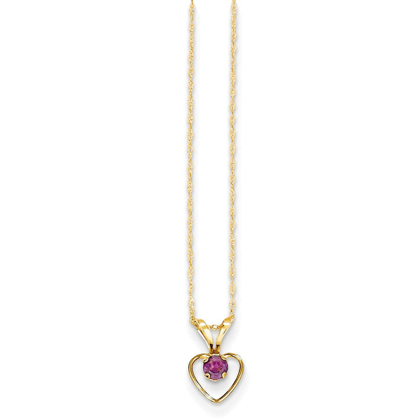 14K Yellow Gold Madi K 3mm Rhodolite Garnet Heart Birthstone Necklace