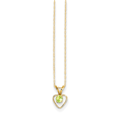14K Yellow Gold Madi K 3mm Peridot Heart Birthstone Necklace