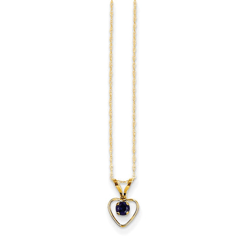 14K Yellow Gold Madi K 3mm Sapphire Heart Birthstone Necklace