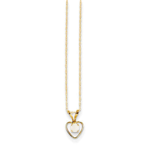 14K Yellow Gold Madi K 3mm Opal Heart Necklace