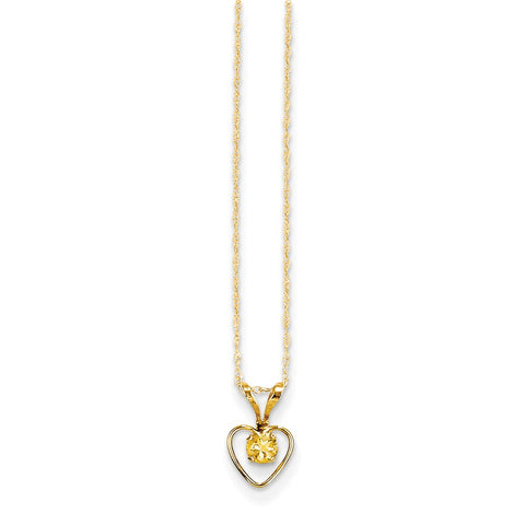 14K Yellow Gold Madi K 3mm Citrine Heart Birthstone Necklace
