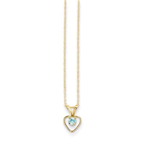 14K Yellow Gold Madi K 3mm Blue Zircon Heart Birthstone Necklace