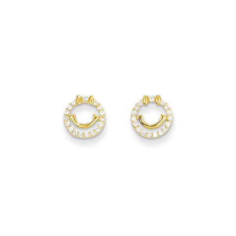 14k Madi K CZ Smiley Face Post Earrings